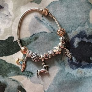 Rose Gold Pandora bracelet + charms
